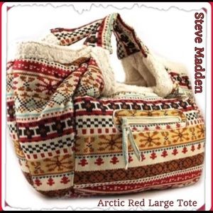 Steve Madden Retired Arctic Red Fleece Satchel